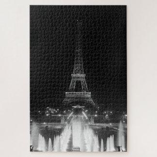 Quebra-cabeça Noite de Eiffel da torre de Paris Fontains do