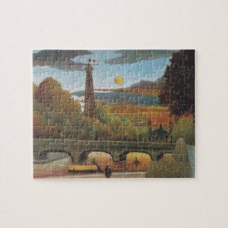 Quebra-cabeça Seine e torre Eiffel no por do sol por Henri