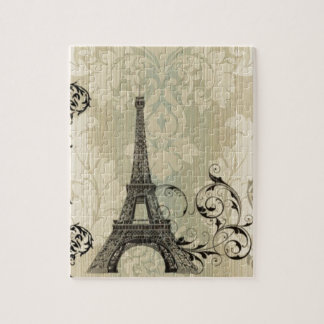 Quebra-cabeça Torre Eiffel bege chique de Paris do damasco de