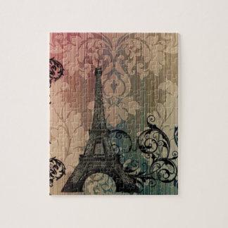 Quebra-cabeça torre Eiffel chique boémia de Paris do damasco do