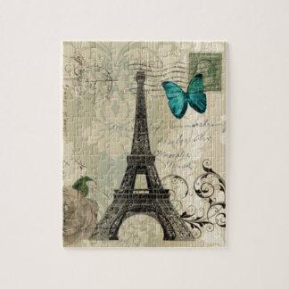 Quebra-cabeça Torre Eiffel cor-de-rosa de Paris da borboleta de