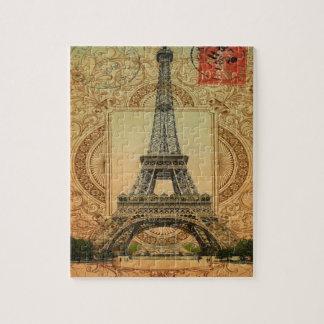 Quebra-cabeça torre Eiffel feminino moderna do vintage do teste