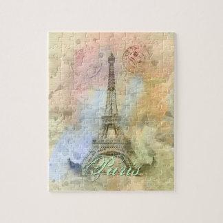 Quebra-cabeça Torre Eiffel feminino na moda bonita France do