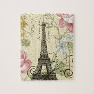 Quebra-cabeça torre Eiffel floral do rosa gasto do amarelo da