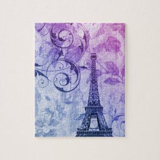 Quebra-cabeça Torre Eiffel floral roxa chique feminino de Paris