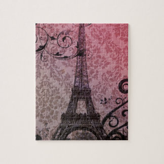 Quebra-cabeça torre Eiffel romântica de Paris do damasco do rosa