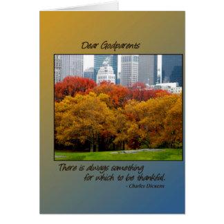 Queda da acção de graças no Central Park para Cartão Comemorativo