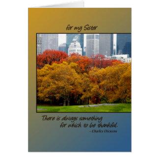 Queda do cartão da acção de graças no Central Park