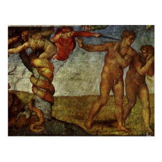 Queda do Jardim do Éden, fresco, Michelangelo Cartão Postal