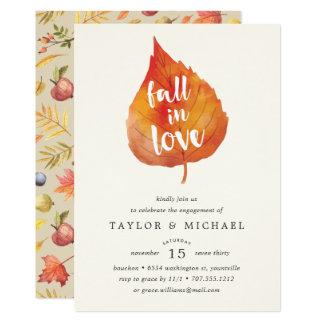 Queda no convite da festa de noivado do outono do