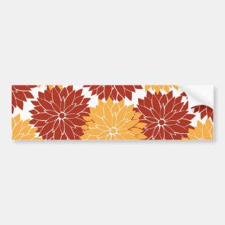 Queimado a flor alaranjada e alaranjada floresce adesivo para carro