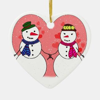 Queridos nevado dos bonecos de neve bonitos - neve ornamento de cerâmica coração
