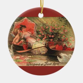 Querubim do dia de são valentim do Victorian do Ornamento De Cerâmica Redondo