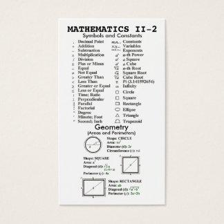 Quik-Referência carteira da matemática II Cartão De Visitas