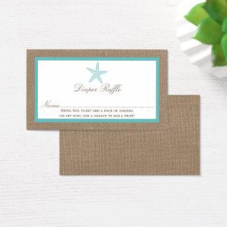 Raffle da fralda do chá de fraldas da praia da cartão de visitas