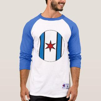 Raglan branco/vermelho/azul do basebol do protetor camiseta