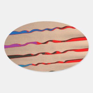 Raia vermelha da faísca - HappyHolidays Adesivos Em Formato Ovais
