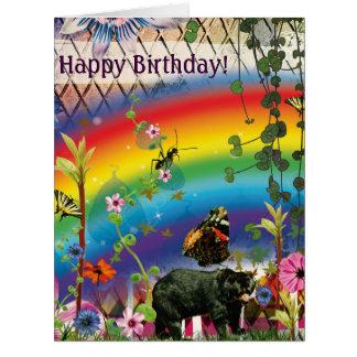 Rainbow Funny Jungle Birthday Card Cartão Comemorativo Grande