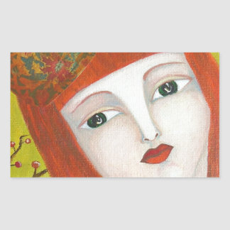 Rainha da floresta. Pintura da arte do retrato da Adesivo Retangular
