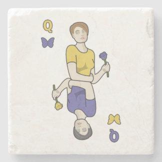 Rainha da menina do cartão das borboletas porta copos de pedra