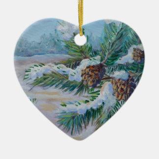 Ramos nevado do pinho ornamento de cerâmica coração
