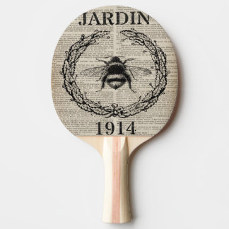 Raquete De Ping Pong abelha francesa do vintage do país do impressão do