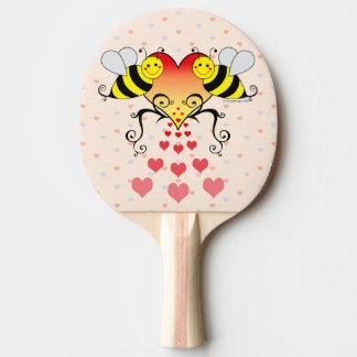 Raquete De Ping Pong Bumble abelhas com design dos corações
