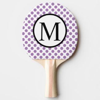 Raquete De Ping Pong Monograma simples com bolinhas da lavanda