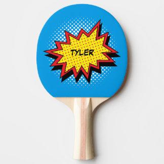 Raquete De Ping-pong Nome colorido do estilo da banda desenhada