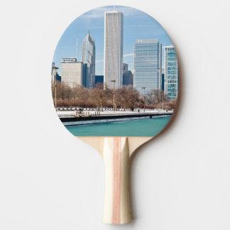 Raquete De Ping-pong Skyline de Chicago através do Lago Michigan