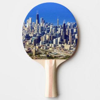 Raquete De Ping-pong Vista aérea do centro de Chicago com lago