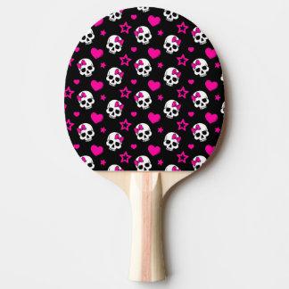 Raquete Para Ping Pong Crânios bonitos do gótico no rosa brilhante