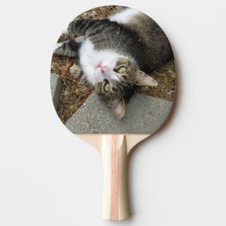 Raquete Para Ping Pong Pá de cabeça para baixo de Pong do sibilo do gato