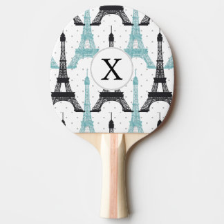 Raquete Para Ping-pong Teste padrão chique da torre Eiffel do Aqua do