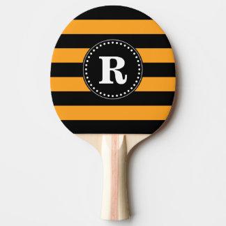 Raquete Para Ping Pong Teste padrão preto e alaranjado das listras