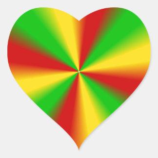 Rasta irradia amarelo verde e o vermelho adesivo coração