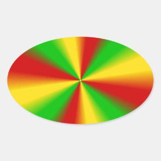 Rasta irradia amarelo verde e o vermelho adesivo oval