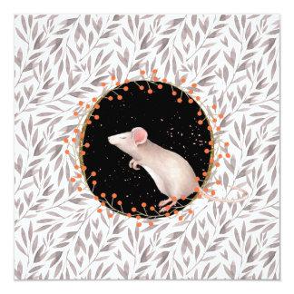 Rato minúsculo no campo da colheita do outono convite quadrado 13.35 x 13.35cm
