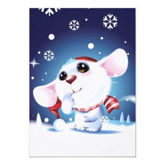 Rato na neve de observação do chapéu e do lenço convite 12.7 x 17.78cm