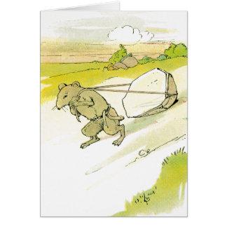 Rato que arrasta a rocha grande cartão