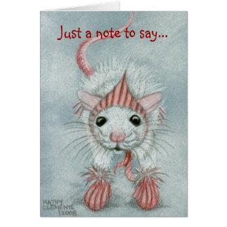 Rato que veste Babushka & mitenes, cartão de nota