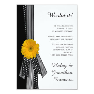 Recepção branca do preto amarelo da margarida convite 12.7 x 17.78cm