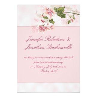 Recepção de casamento cor-de-rosa do cargo das convite 12.7 x 17.78cm