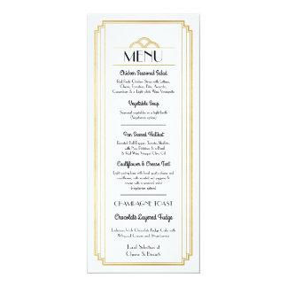 """Recepção de casamento do branco do ouro do menu do convite 10.16"""" x 23.49cm"""