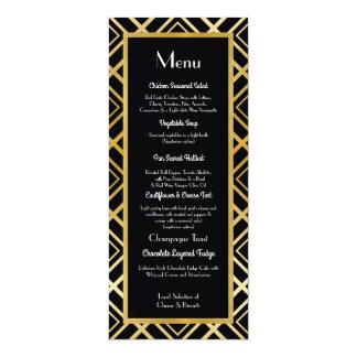"""Recepção de casamento do menu do preto do ouro do convite 10.16"""" x 23.49cm"""