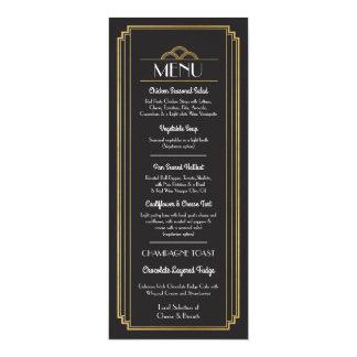 """Recepção de casamento do preto do ouro do menu do convite 10.16"""" x 23.49cm"""
