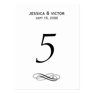 Recepção de casamento simples do cartão do número cartão postal