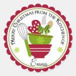 Recipientes do Natal e Mit de cozimento Adesivos Redondos