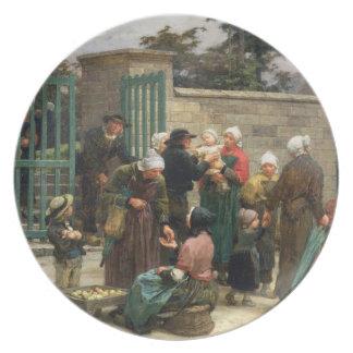 Recolhendo os Foundlings (óleo em canvas) Louça De Jantar