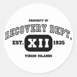 Recuperação de VIRGIN ISLANDS Adesivo Redondo